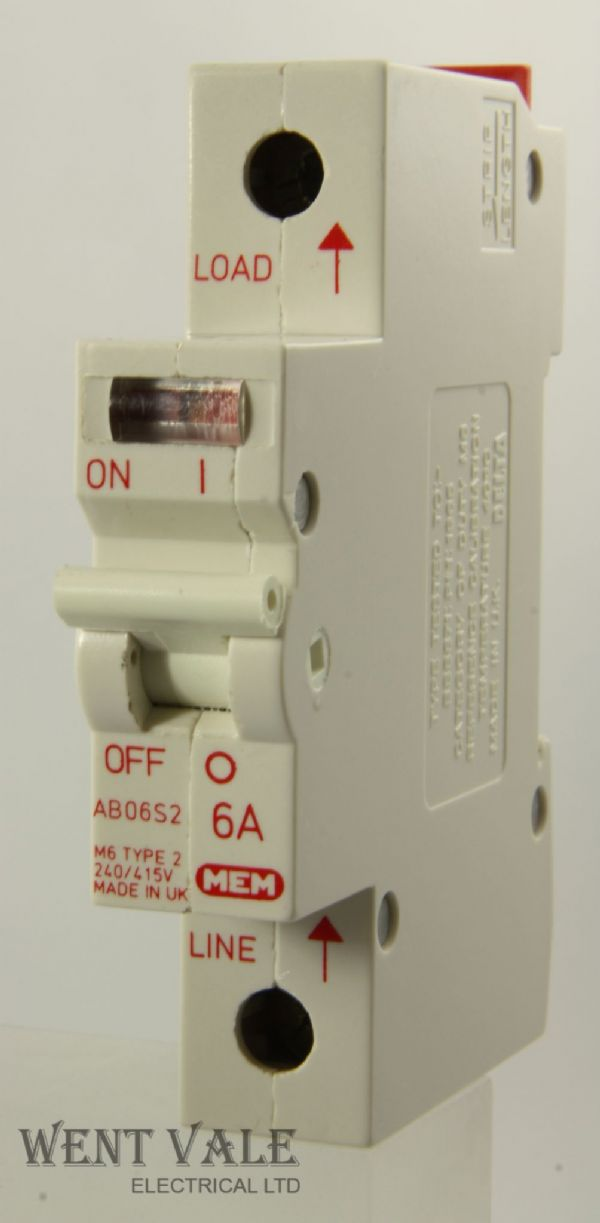 MEM/Delta 2000 - AB06S2 - 6a Type 2 Single Pole MCB Used